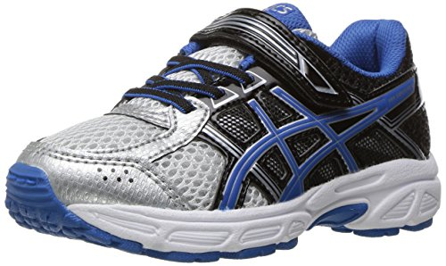 ASICS Boys' Pre-Contend 4 PS Running Shoe, Silver/Classic Blue/Black, 12 M US Little Kid