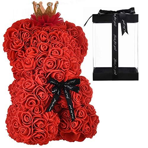 Orso di Rose Orsetto di Rosa Orsacchiotto di Rosà Altezza 25 cm Teddy Bear Rosse Idea Regalo Regali per Lei Fidanzata Compleanno Mamma Anniversario San Valentino (Senza LED, Rosso Classic)