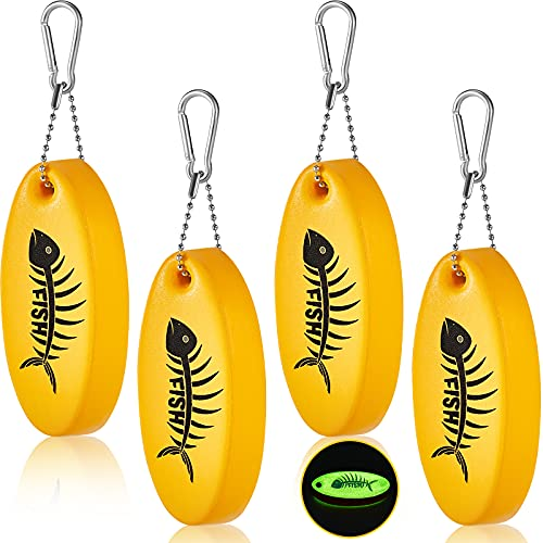 4 Pieces Floating Keychain Oval Shaped Foam Floating Key Ring Glow in the Dark Foam Floating Key Chain Lightweight Key Float Water Sports Accessories for Fishing Surfing Sailing and Outdoor Sport