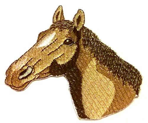 BeyondVision Individueel en uniek paardengezicht geborduurde ijzeren naaipatches 3,5 x 4,5 wit, zwart, bruin, grijs