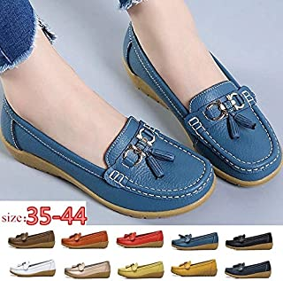 New Women Soft Bottom Flat Shoes Daily Office Work Shoes Casual Loafers Zapatos Cip Chaussures(Orange,42)