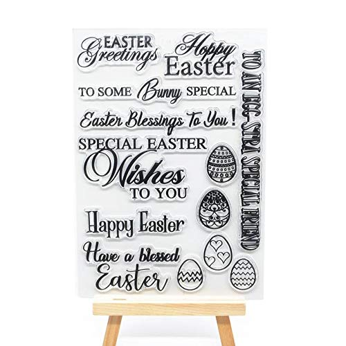 Welcome to Joyful Home 1pc Happy Easter Greetings Rubber Clear Stamp for Card Making Decoration and Scrapbooking 11x16cm