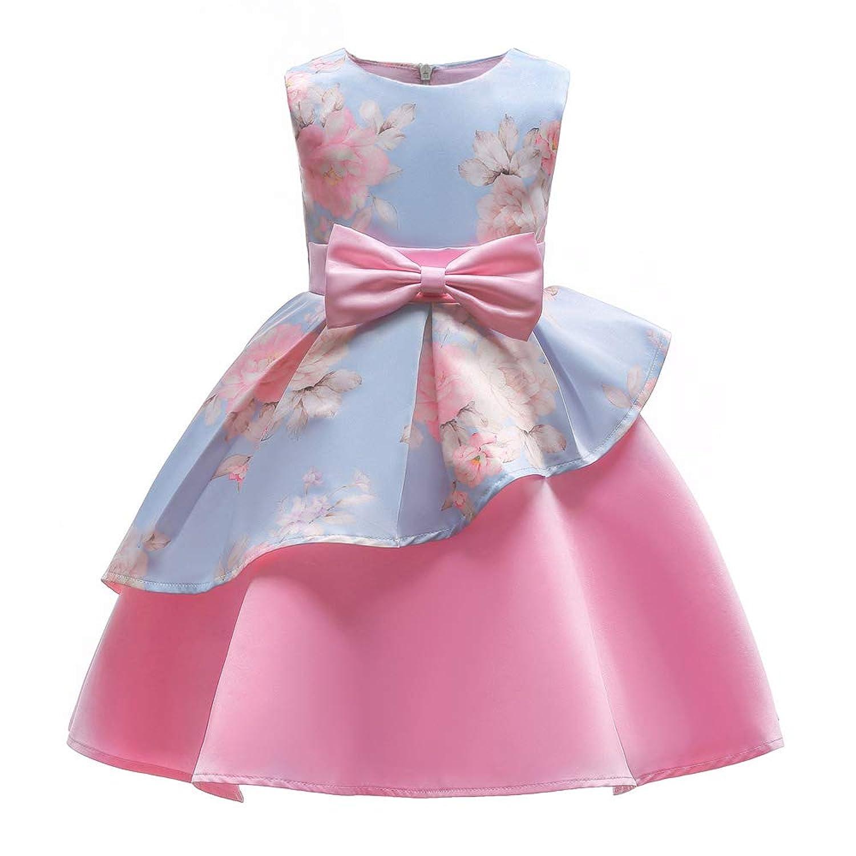 ガールズドレス 女の子ドレス ワンピース 不規則な裾 入園式 結婚式 卒業式 お花柄 王女のスカート