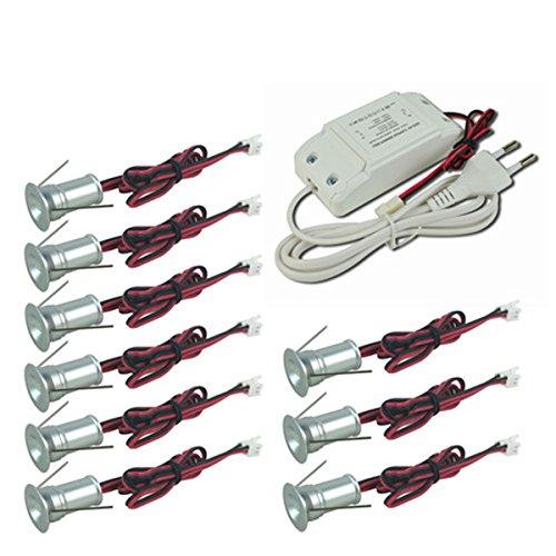 Kpsun Mini-LED-Einbaustrahler/Einbauleuchte, 1 W, mit Treiber, dimmbar, 85 - 277 V AC für Zuhause, Restaurants, Schrankbeleuchtung,CE RoHS, 9 Stück, warmweiß, 120° Dim