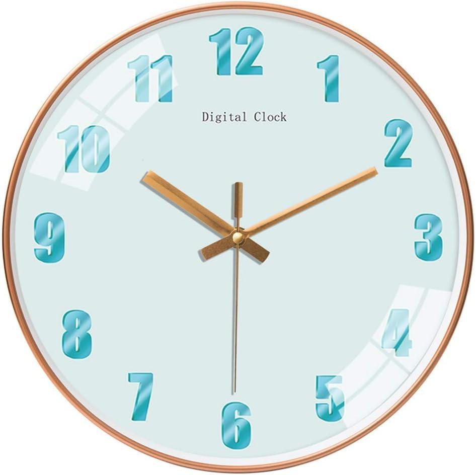 ZCYXQR Reloj de Pared operado silencioso, sin tictac, Sala de Estar, Dormitorio, diseño Simple, nórdico, Moderno, Color sólido, decoración, 12 Pulgadas, ro (decoración del hogar)