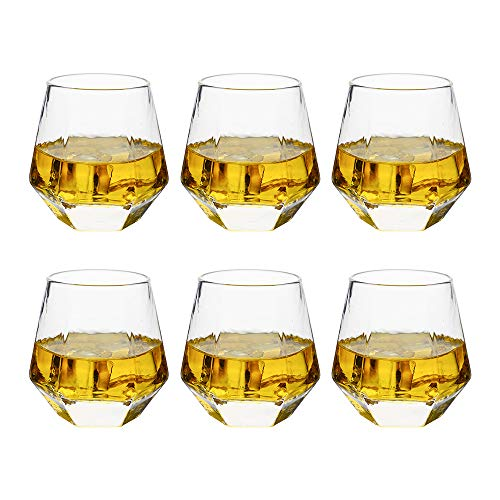 Glassware Whiskey Glasses set 6:Whiskey Tumbler For Bourbon Scotch Best as Old Fashioned Glasses