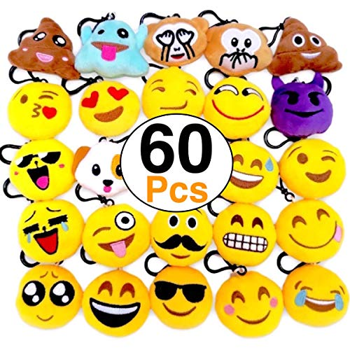 OHill 60 Pack Mini Plush Emoticon Keychain Mini Pillows Key Ring for Birthday Event Party Favors Supplies