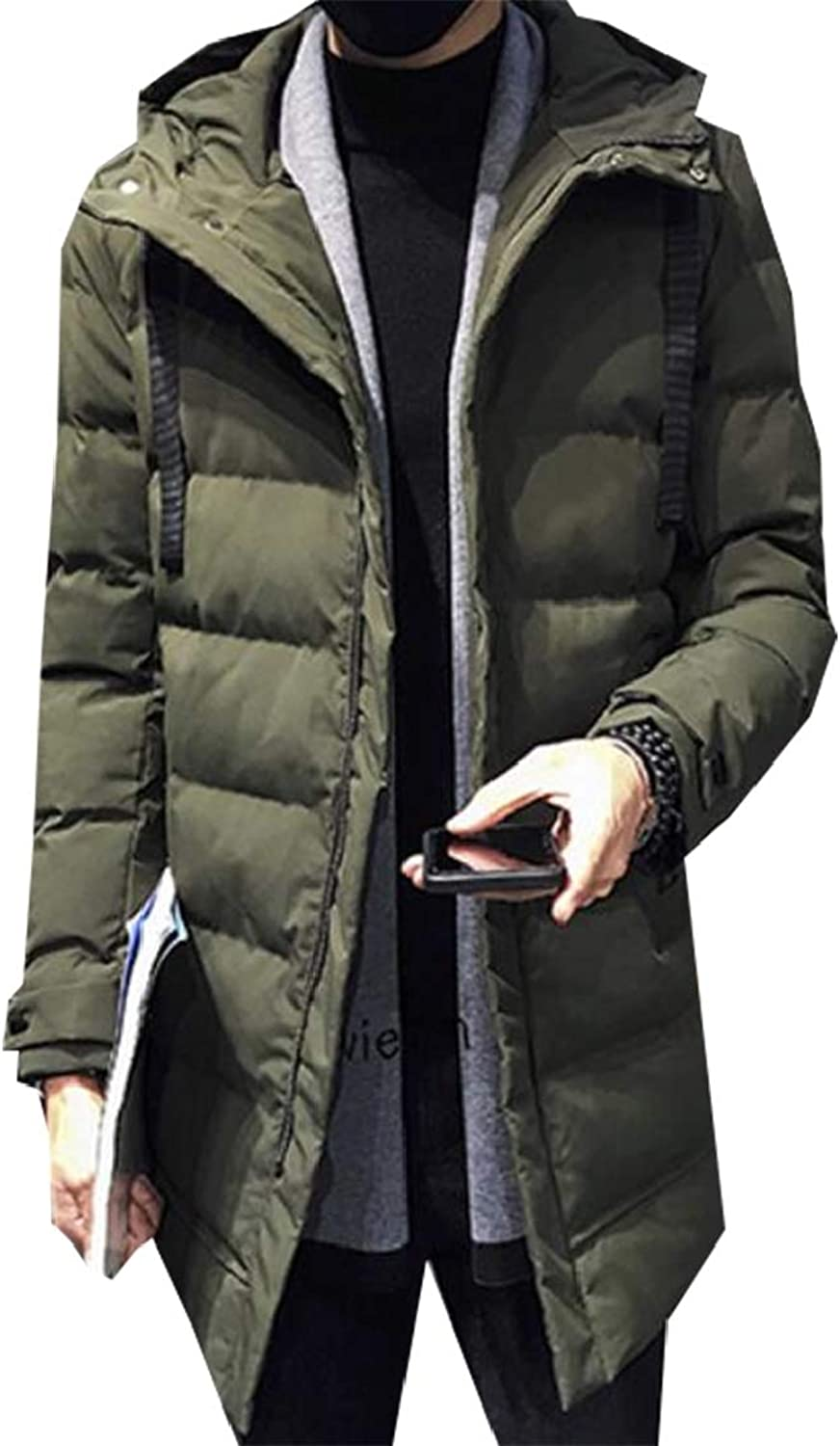 Esast Men Winter Long Sleeve Warm Hooded Fashion Thicken Quilted Cotton Jacket