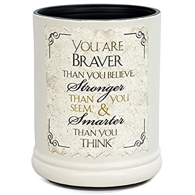 Elanze Designs You are Braver Stronger Smarter Ceramic Stoneware Electric Jar Candle Warmer