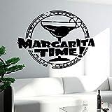 Etiqueta de la pared del tiempo de Margarita, barra de palabras, bebida, taza de vidrio, puerta, ventana, refrigerador, vinilo, pegatina, arte de cocina, decoración mural