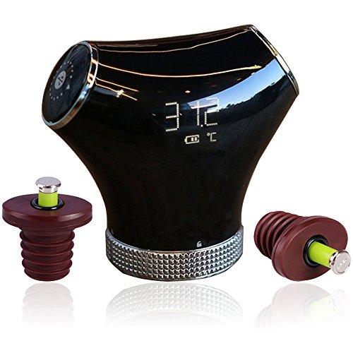 Automatischer Weinkonservierer, wiederaufladbar, elektrisch, Pumpe mit 2 Vakuum-Flaschenverschlüssen und LCD-Temperaturanzeige, Schwarz