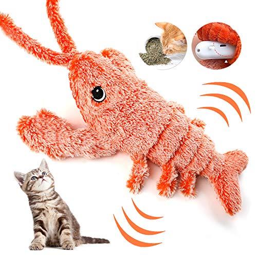 Dorakitten Elektrisches Spielzeug für Katze, Spielzeug mit Katzenminze USB Elektrisches Plüsch Garnele Interaktives Spielzeug Kauspielzeug für Kätzchen Katze zum Spielen, Beißen und Treten