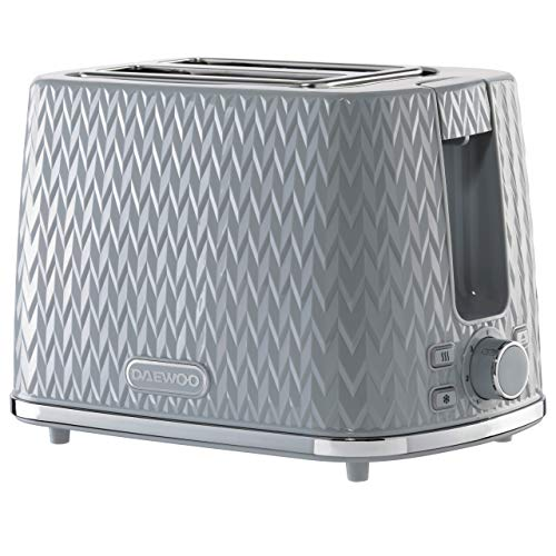 Daewoo Argyle 2 Slice Patterned Toaster | Reheat, Defrost & Cancel Controls | Electronic Browning Feature | Removable Crumb Tray | Anti-Jam Function | Self-Centering | 220-240V/50-60Hz/780-930W - Grey