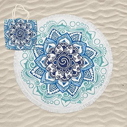 KN Toalla Playa Gigante para Mujer en Diseño de Impresos con Regalo de Una Bolsa Ideal para la Piscina o la Playa Colorido y Original 180cm Redonda (RD06)