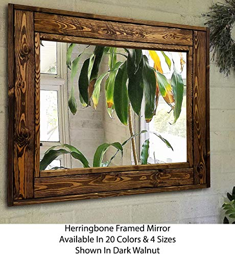 Herringbone Reclaimed Wood Framed Mirror, Available in 4 Sizes and 20 Stain colors: Shown in Dark Walnut - Wall Mirror - Wall Mirror Decorative - Rustic Wall Mirror - 24x30-36x30-42x30-60x30