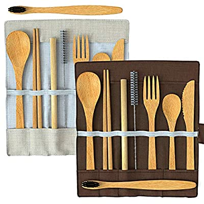 Greenzla 2-Pack Bamboo Utensils | With Bonus 2 Bamboo Toothbrushes | Bamboo Straw, Spoon, Fork, Knife, Teaspoon, Chopsticks, Brush & 2 Storage Bags | Eco-Friendly Reusable Bamboo Cutlery set