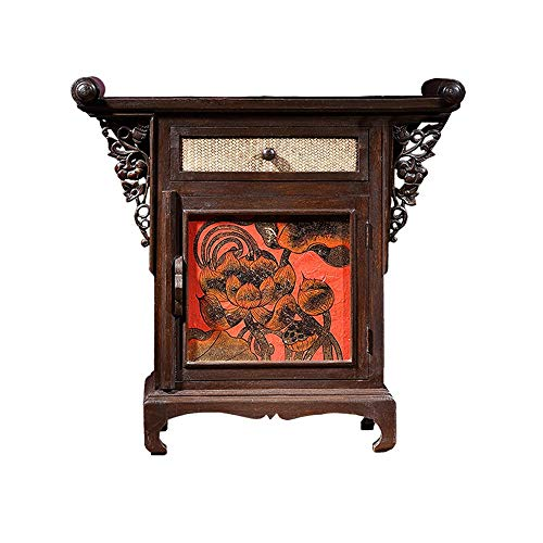 YADSHENG Vintage End Tables Thai Style Hand-Painted Console Table with Large Storage Southeast Asian Bamboo Weaving Side Table Cabinets (Color : Brown, Size : 86x40x86cm)