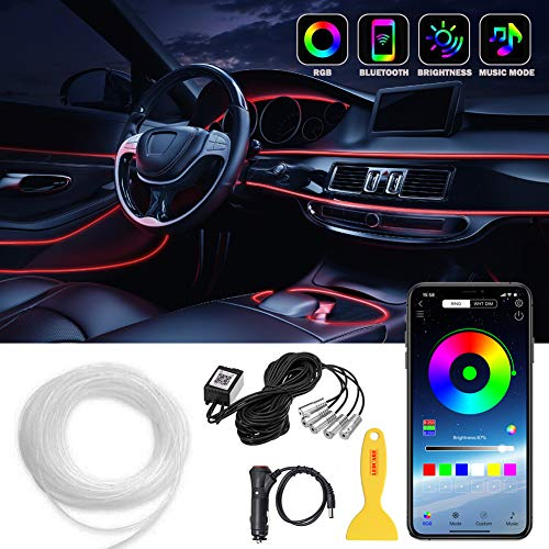 Car LED Strip Lights LEDCARE Multicolor RGB Car Interior Lights 16 Million Colors 5 in 1 with 236 inches Fiber Optic Ambient Lighting Kits Sound Active Function and Wireless Bluetooth APP Control