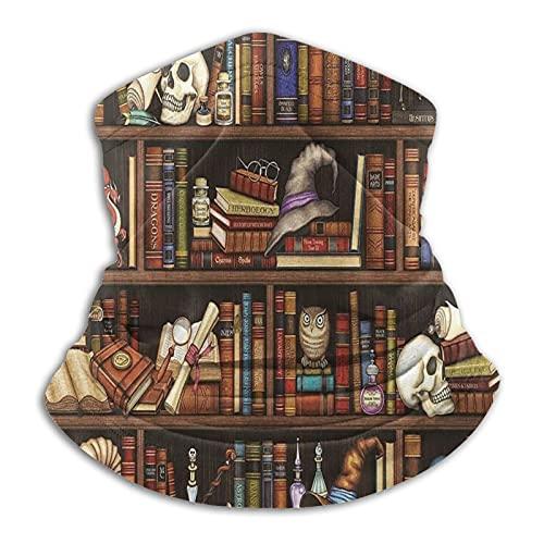 Calentador de cuello polaina mágica estantería libros cráneo dragón máscara facial para hombres mujeres bandanas para pesca caza deportes