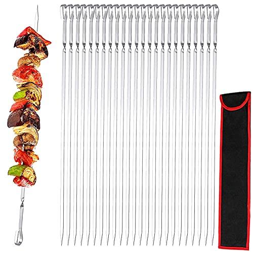 GUJIN [24 Pezzi] Spiedi per barbecue, 41cm BBQ Kabob Spiedini Acciaio Inox Set, Spiedi Piatti Riutilizzabili per Barbecue Grigliatura Carne Verdure BBQ Bastone