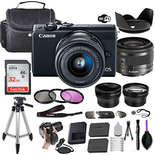 Canon EOS M100 Mirrorless Digital Camera (Black) w/EF-M 15-45mm f/3.5-6.3 is STM + Wide-Angle and Telephoto Lenses + Portable Tripod + Memory Card + Deluxe Accessory Bundle