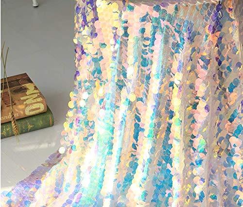 Jiaxingo Irisierende Pailletten Party Tischdecke Glitter Stoff Party Kulissen Für Hochzeit Weihnachten Baby Shower Mermaid DIY Decor (90 * 130cm)