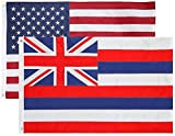 State + USA Flags 3x5 Feet Combo Pack - Embroidered 200D / 210D Nylon Flags with Sewn Panels (Hawaii + USA 3x5)
