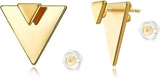 أقراط هندسية مفتوحة مثلث الشكل من لوياتا، 14 قيراط مطلية بالذهب الفريد قرط الأذن جاكيت متدلي أقراط للنساء