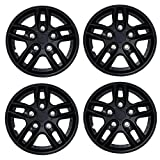 Tuningpros WC3-15-515-B - Pack of 4 Hubcaps - 15-Inches Style Snap-On (Pop-On) Type Matte Black Wheel Covers Hub-caps