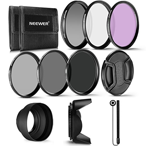 Neewer 55mm Profesional UV CPL FLD Lente Filtro y Filtro de Densidad Neutra (ND2, ND4, ND8) Kit de Accesorios para Sony A7 A7III A6000 A6500