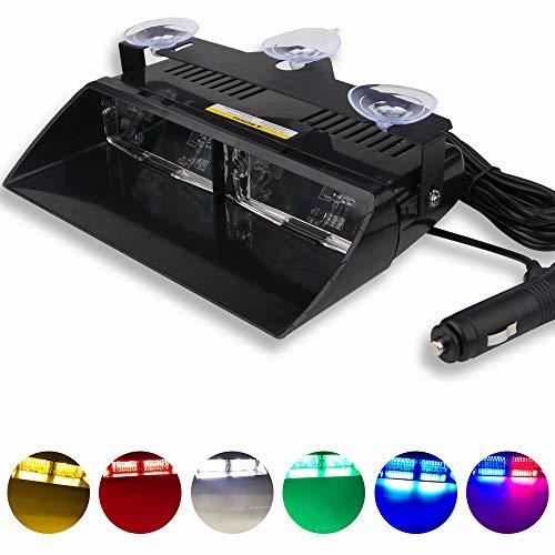 12V Multicolor 16 LED Alto Brillo Aplicación de la Ley Baliza de Emergencia Advertencia de peligro Luz Estroboscópico Flash Para Techo interno/Tablero de instrumentos/parabrisas con ventosa