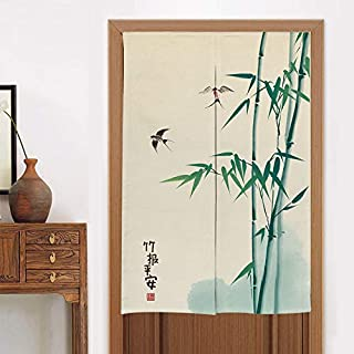 MYRU Kitchen Curtain Bedroom Partition Curtain Noren Bamboo Japanese Curtain Doorway Feng Shui Door Curtain (Bamboo,33 by 55 Inch)