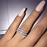 925 Sterling Silver Shiny Full Diamond Ring Three Rows Cubic Zirconia Cocktail Rings CZ Diamond Multi Row Ring Eternity Engagement Wedding Band Ring for Women TZ.35 (US Code 9)