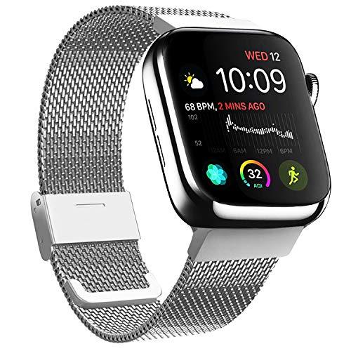 Meliya kompatibel mit Apple Watch Armband 38mm 40mm 42mm 44mm, Metall Edelstahl Ersatzarmband für iWatch Series 5 4 3 2 1 (02 Silber, 42mm/44mm)