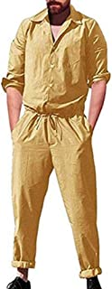 huateng Men's Casual Jumpsuits Long Sleeve Casual One Piece Romper Suit M-3XL