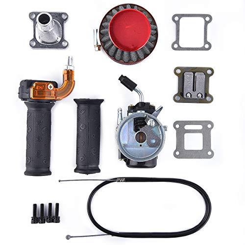 Performance Carb Carburetor Air Filter Assembly Compatible with 2-stroke 47cc 49cc Mini Pocket Bike Quad Chopper ATV Red