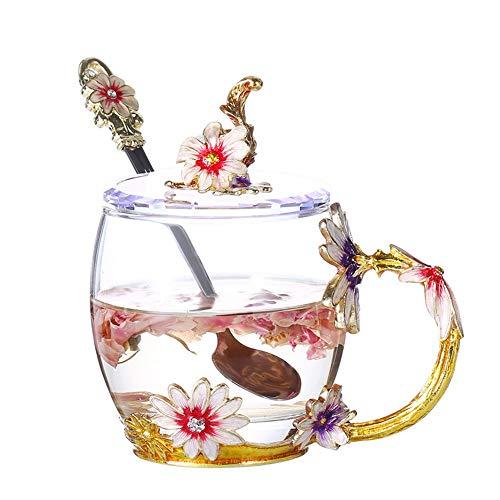 KX-YF Tazza e piattino Tazza in Vetro smaltato Crisantemo Cristallo Trasparente tè Tazze da caffè Tazze da Viaggio con Manico a Fiori Amico Compleanno Regalo di San Valentino Home Office Service Set