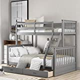 Twin-Over-Full Bunk Bed for Kids, Solid Wood bunks beds with Ladders and Two Storage Drawers (Grey)