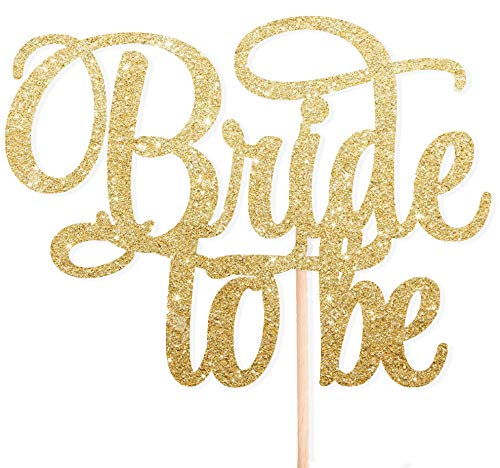 Cotton Candy Co BRIDE TO BE Gold Glitter Cake Topper Wedding Engagement Party Bridal Shower Toppers Cupcake