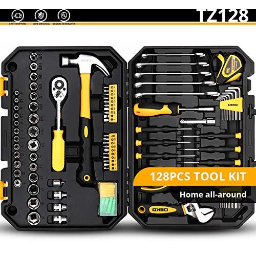 RAQ DEKO Handgereedschap Set Algemene Huishoudelijke Reparatie Handgereedschap Kit met Plastic Tool Box Opbergtas Hamer Schroevendraaier Ratchet Wrench Verenigde Staten TZ128