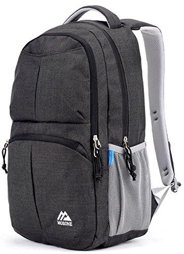 Mozone Large Lightweight Water Resistant College School Laptop Backpack Travel Bag (Black)
