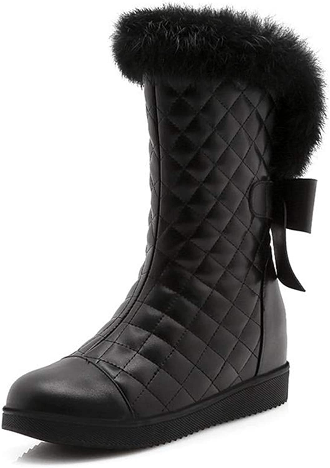 Winter Mid Calf Boots Winter Faux Hidden Heel Ladies Snow Warm Fashion shoes Round Toe Casual Outdoor shoes