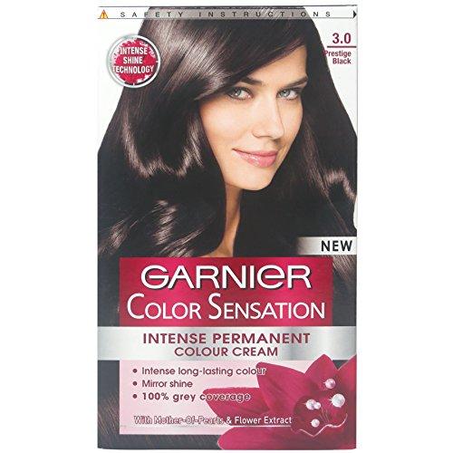 3 x Garnier Color Sensation Intense Permanent Color Cream 3.0 Prestige Black