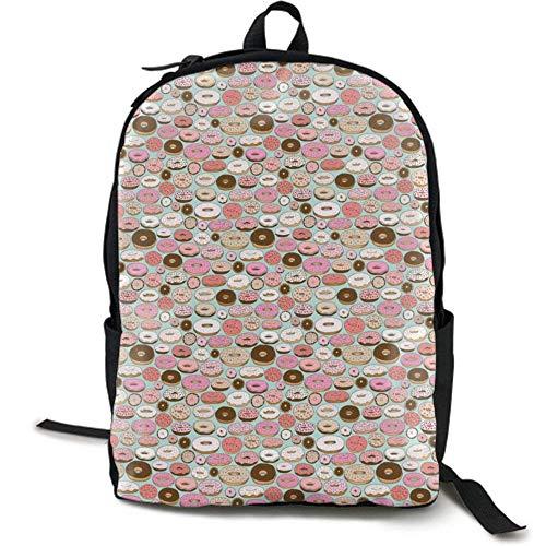 XCNGG Mochila de impresión de fotograma Completo para Adultos Mochila Informal Mochila Mochila Escolar Lightweight Durable Backpack Daypack for School Travel Hiking, Donut Illustration Seamless