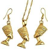 NC88 Egypt Nefertiti Queen Portrait Pendant Necklace & Earrings For Women gold Color Egyptian Jewelry Sets Wholesale