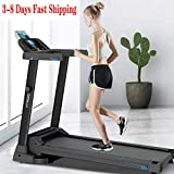 US Fast Shipment Folding Electric Treadmill LCD Display Motorized Running 2.0HP Treadmills Speakers Bluetooth Home Gym Workout Fitness MAX 500BLS-12 Kinds of Sports Programs (black-01)