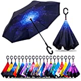 ZOTIA Double Layer Inverted Reverse Umbrella, Winproof Waterproof UV Protection Self Stand Upside Down Car Golf Outdoor Rain Umbrella with C-Shaped Handle-Starry Sky