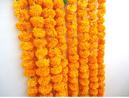 Craffair artificial marigold flower strings orange color  party backdrop  party decoration  Indian theme party decor  photo prop  wedding decorations  housewarming decoration  5 strings of 5 feet long