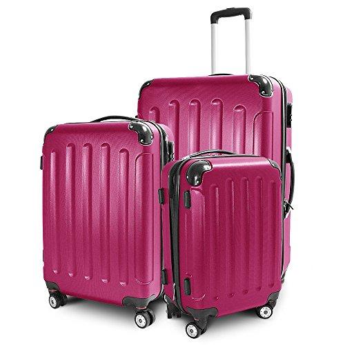 BERWIN Kofferset 3-teilig Reisekoffer Trolley Hartschalenkoffer ABS Teleskopgriff (Pink)