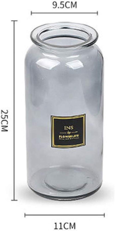 VBJDKB Rétro Conception Vase en Verre Décoration Européenne Maison Vase à Fleurs ArrangeHommest De La Fleur Hydroponique Vase De Table pour La Décoration De Fleurs, gris Al